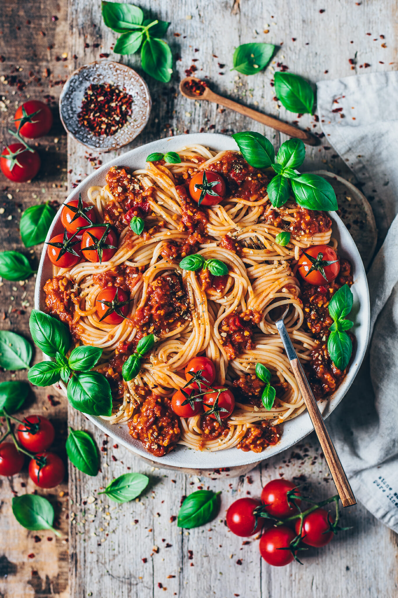 vegane Bolognese mit spaghetti