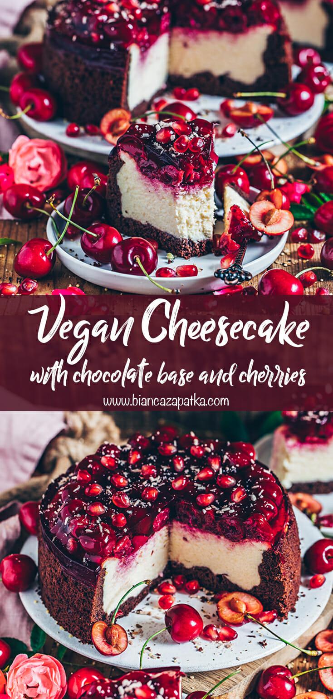 Cheesecake with cherries and chocolate base