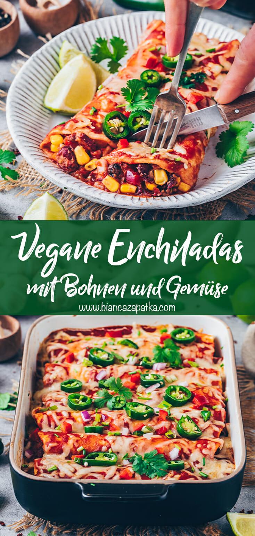 Vegane Enchiladas mit Gemüse, Bohnen und Tortillas