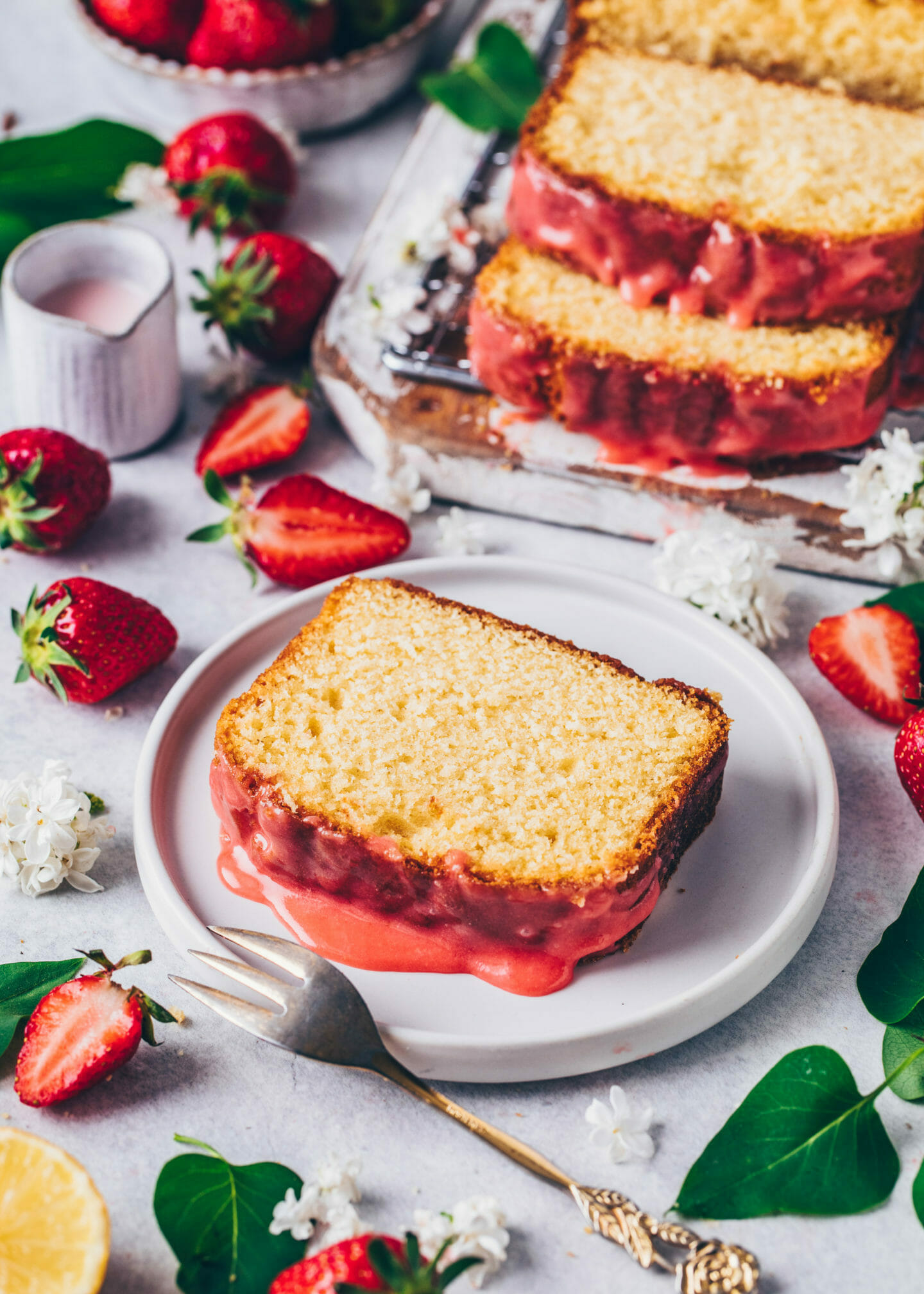 Best Lemon Cake with Strawberry Glaze