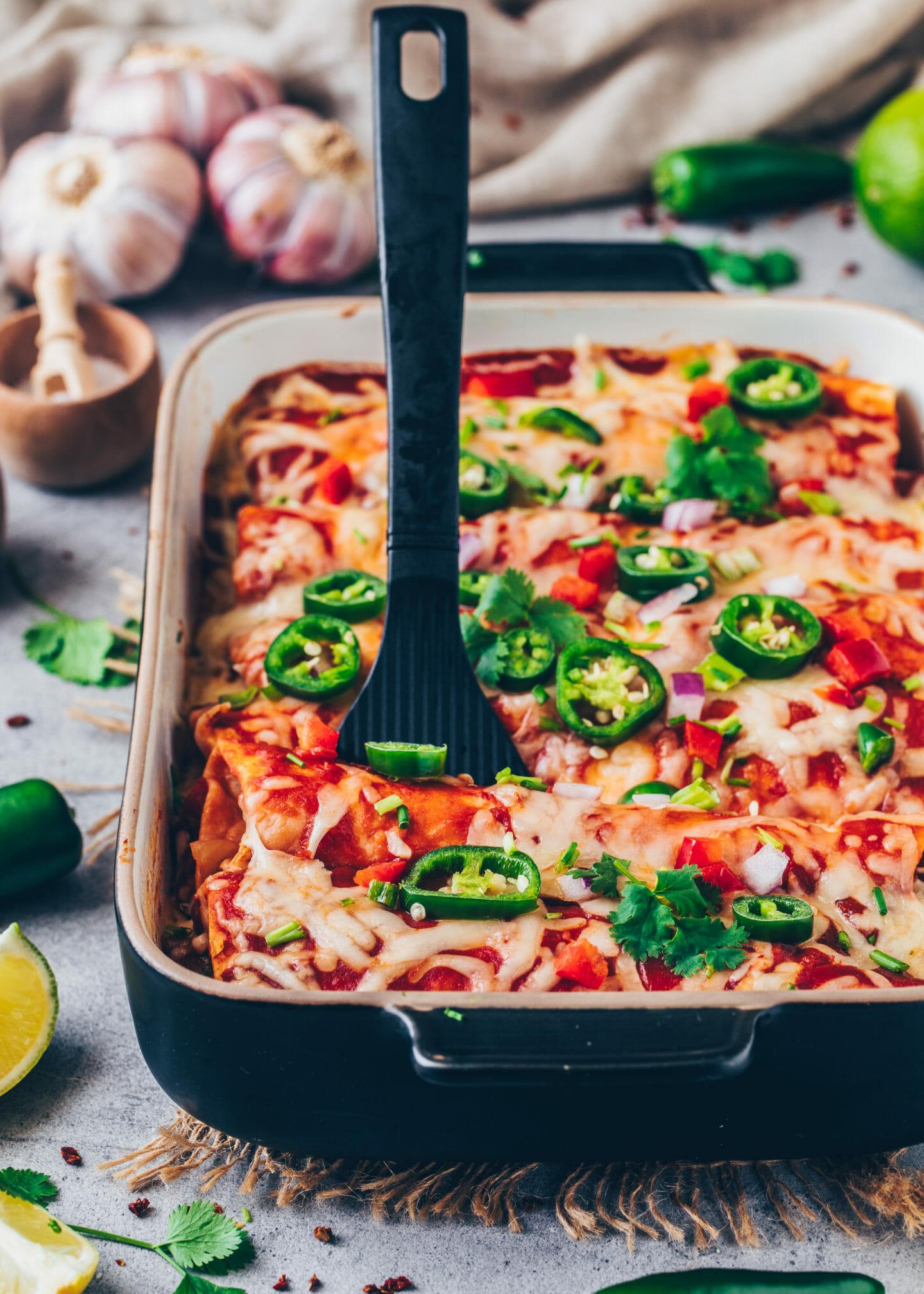 Vegan Enchiladas with Beans (Mexican Veggie Casserole)