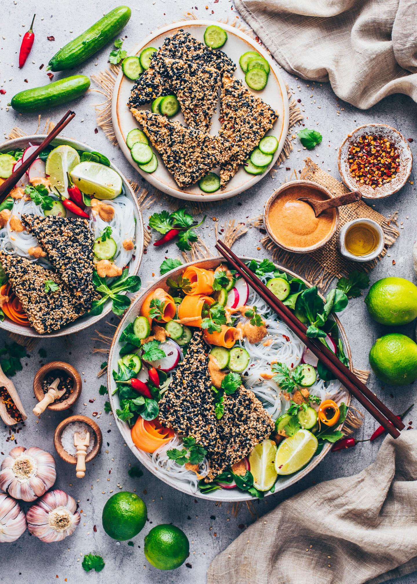 Vietnamese Rice Noodle Salad with Crispy Sesame Tofu and Peanut Dressing