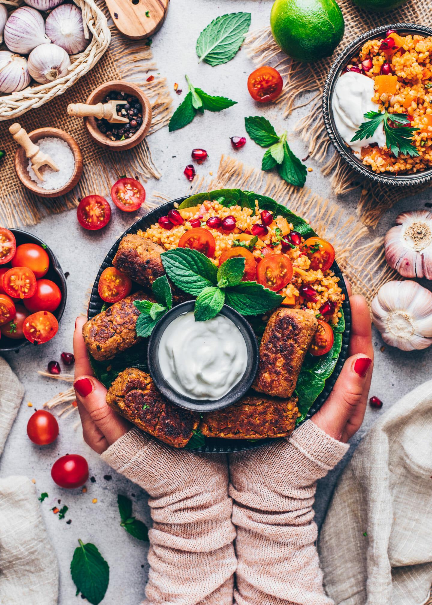 Vegan Cevapcici with Bulgur Salad and Tomatoes (Food Photography)