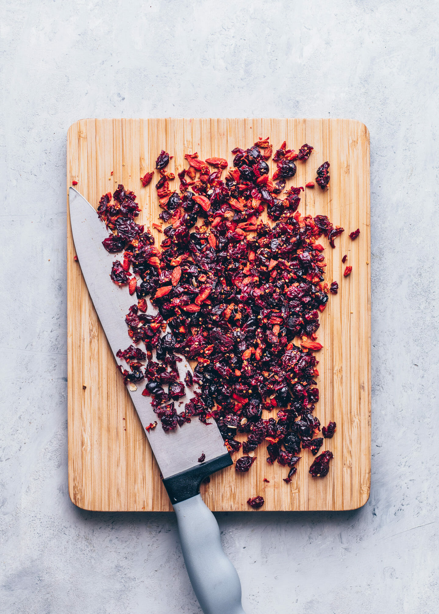 chopped cranberries and goji berries