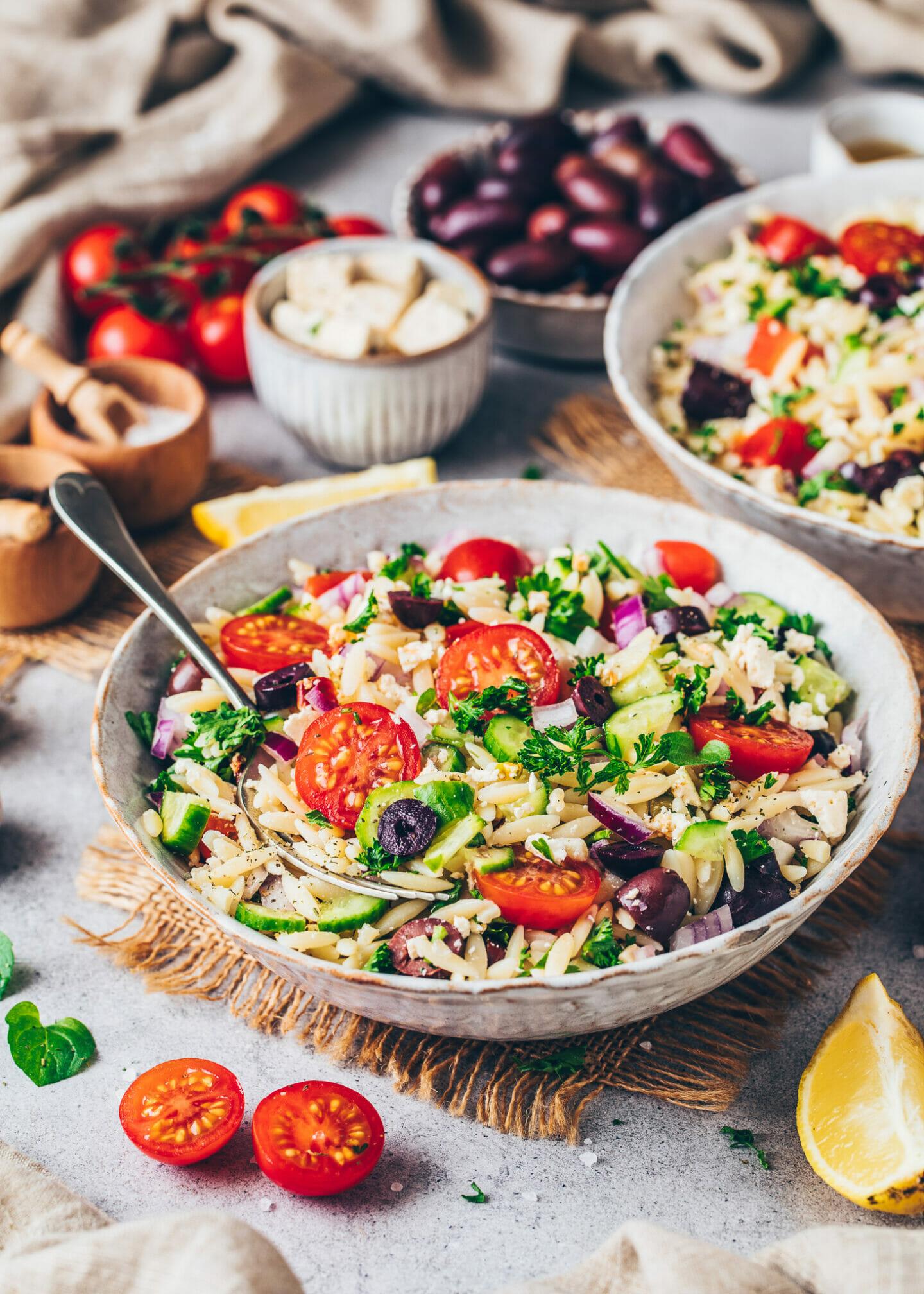 Greek Orzo Pasta Salad with Vegan Feta