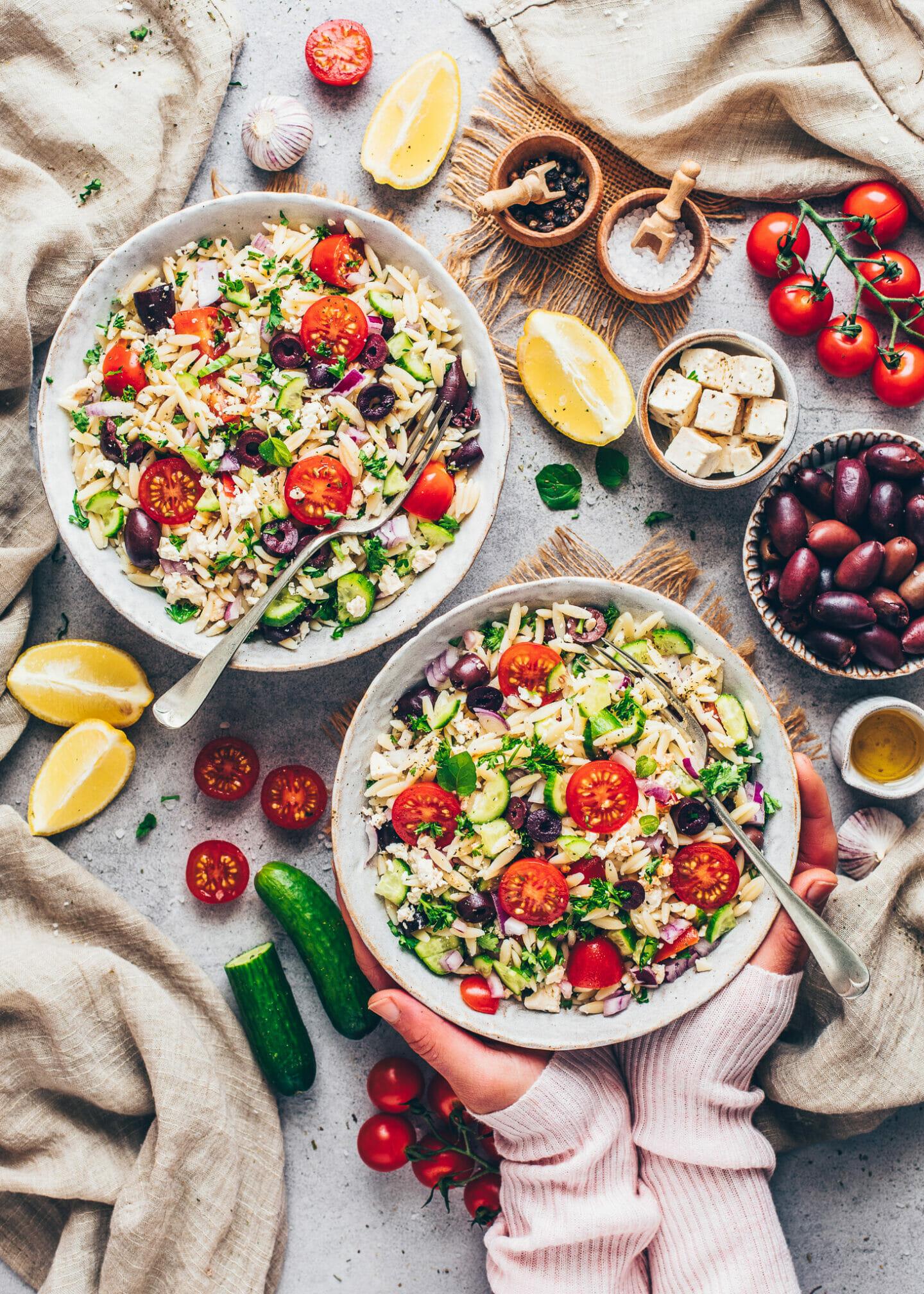 Greek Orzo Pasta Salad (food photography)