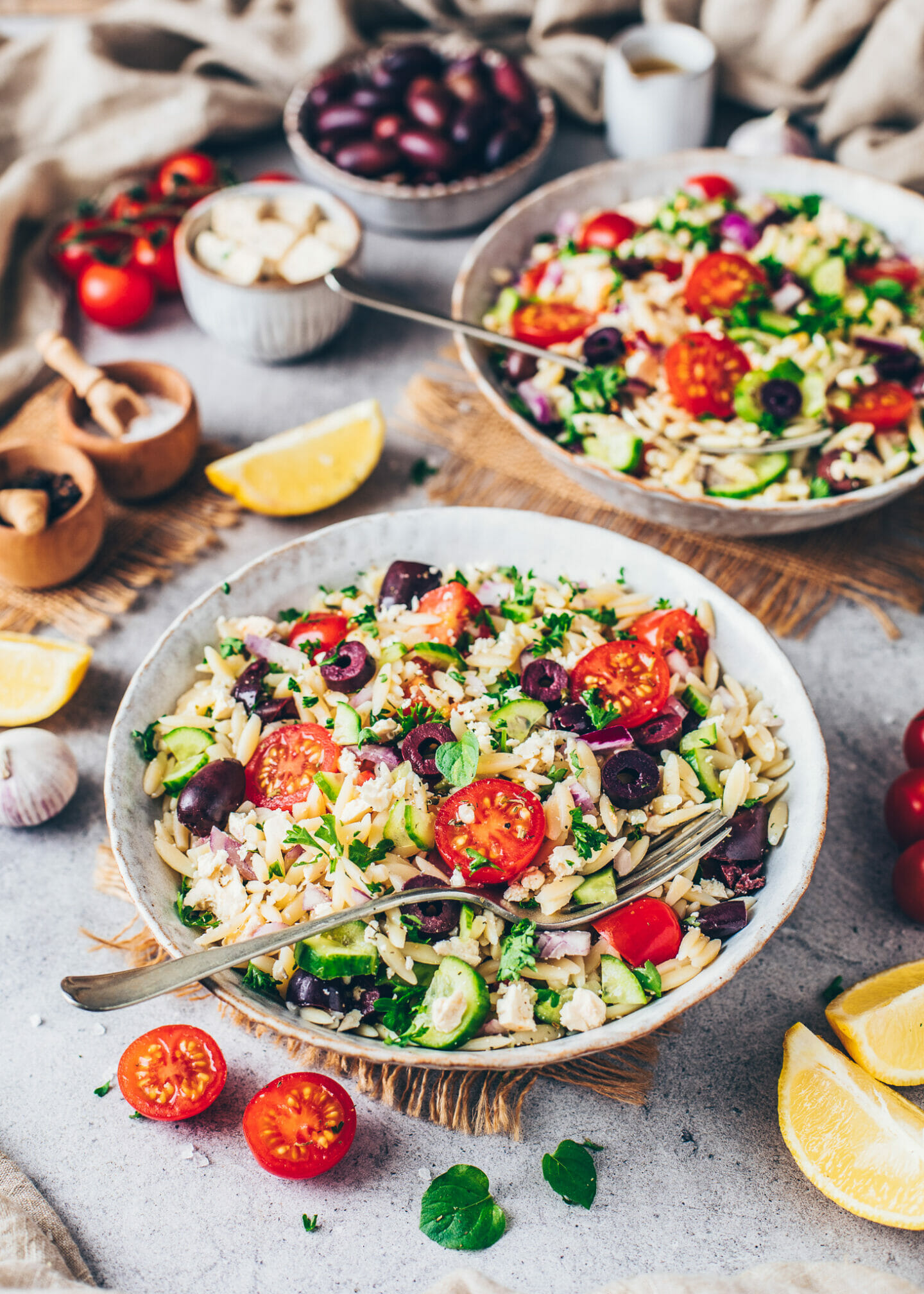 Greek Orzo Salad with Veggies and Vegan Feta