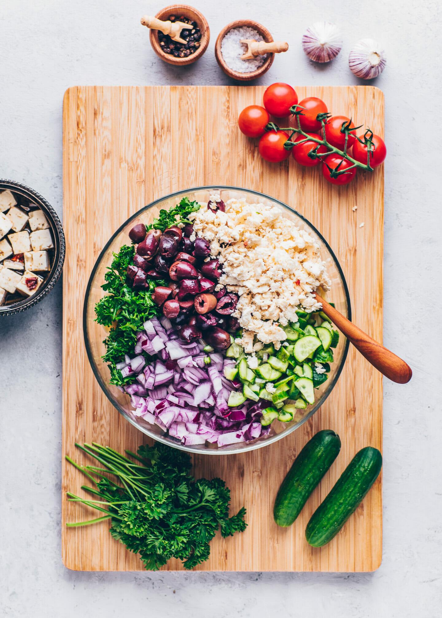 orzo pasta, kalamata oliven, cucumber, tomatoes, onion, parsley, lemon for greek salad