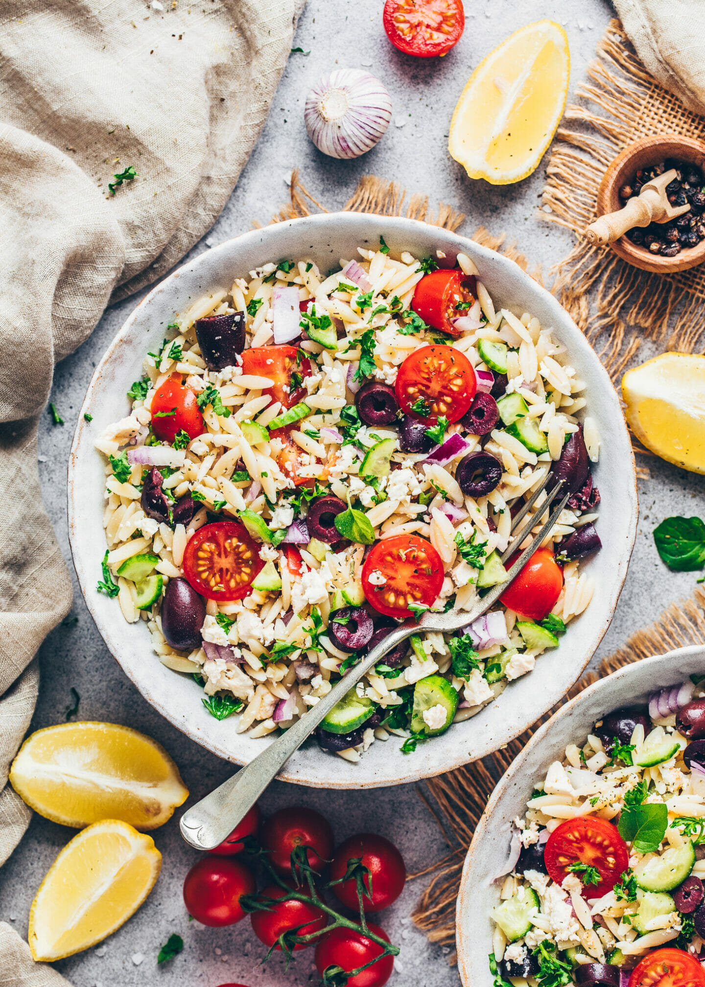 Meditteranean Greek Orzo Pasta Salad with Vegan Feta