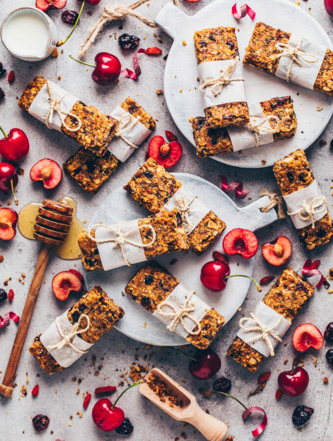 Granola Bars with cherries (food photography)
