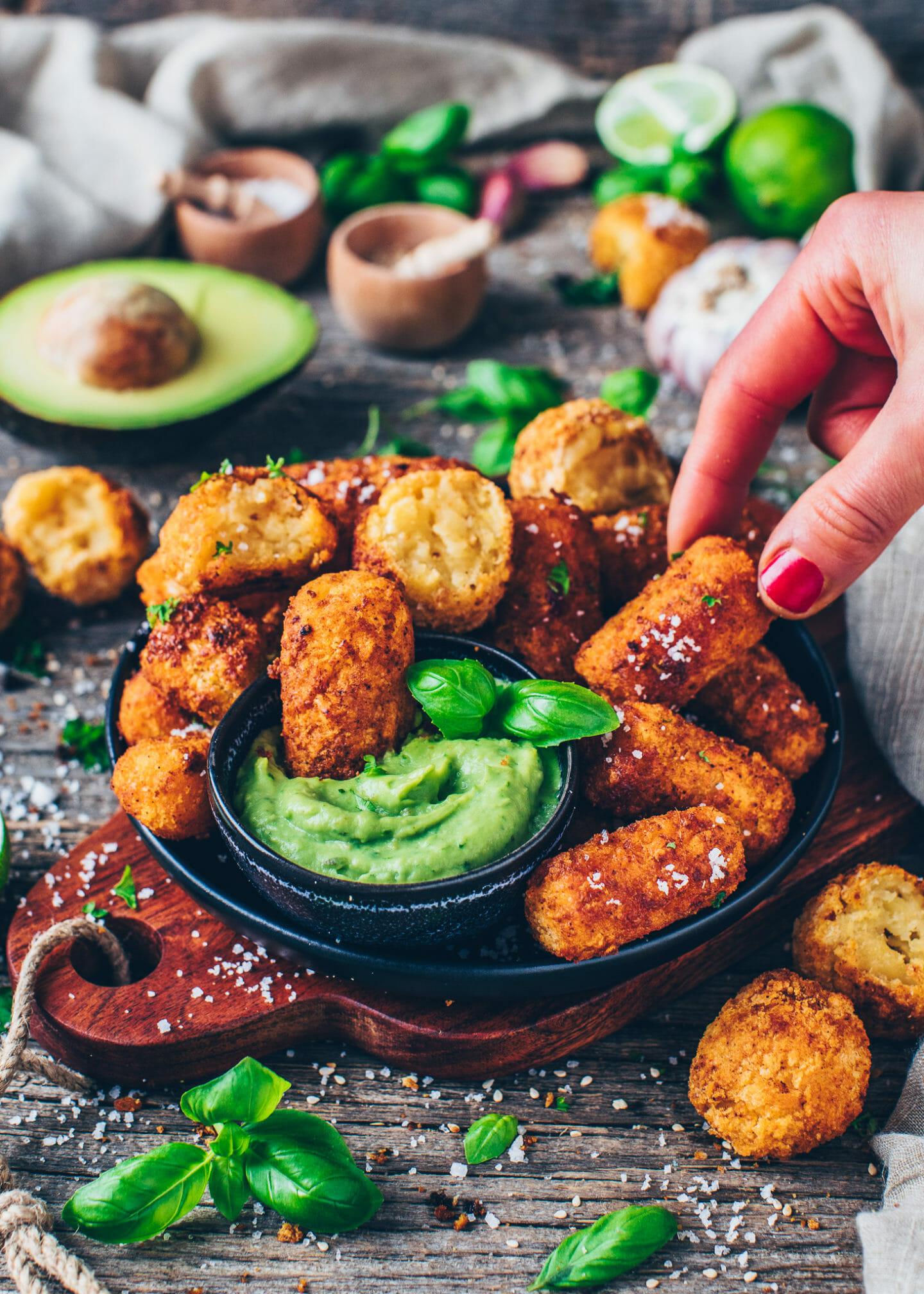 homemade potato croquettes with avocado guacamole