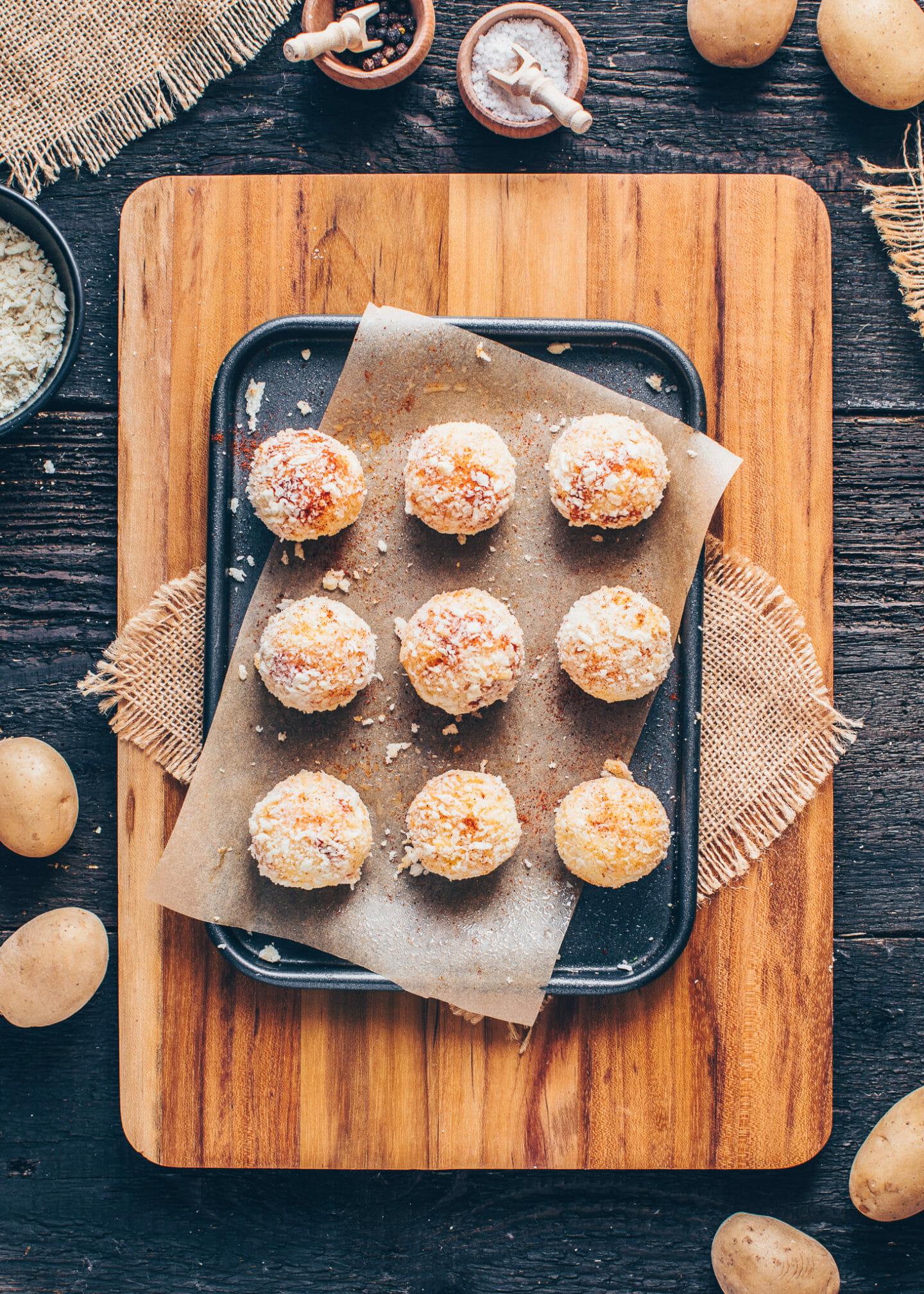 homemade potato croquettes balls (tater tots)