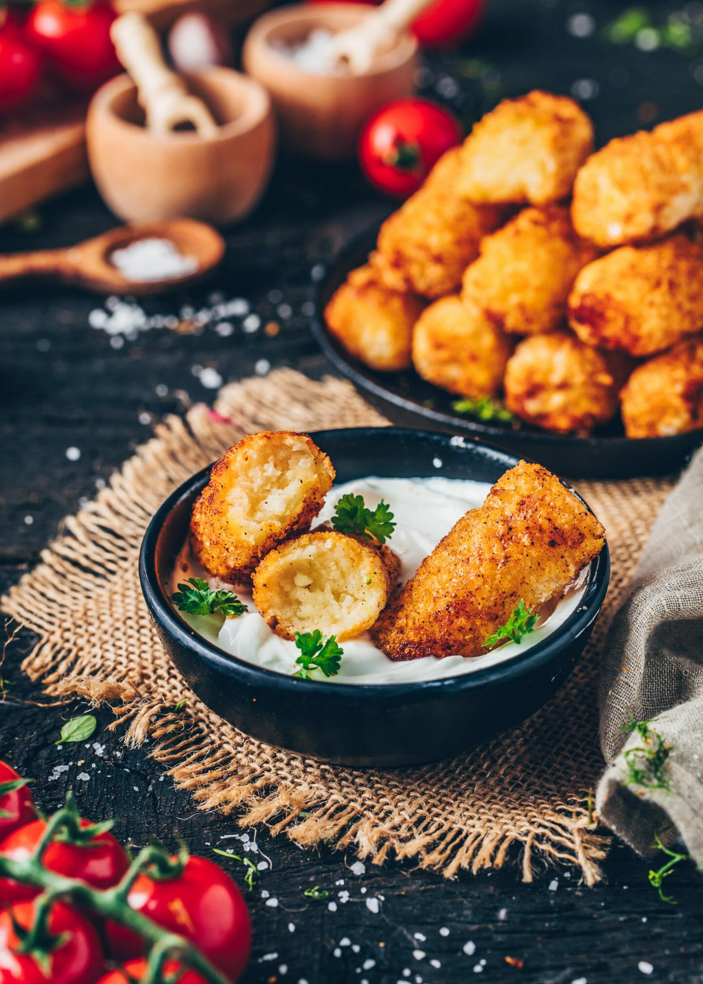 Potato Croquettes with cashew dip (homemade, easy, vegan, gluten-free)