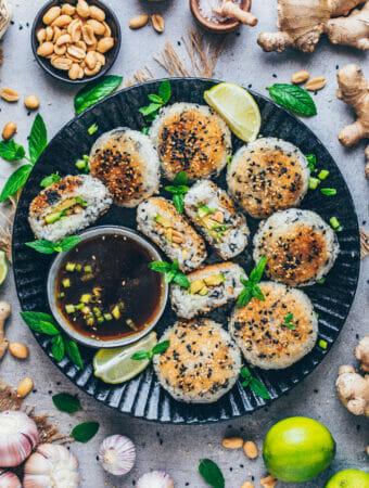 Onigiri - Japanische Reisbällchen mit Avocado, Erdnüssen, Sesam und Thai Dip-Sauce