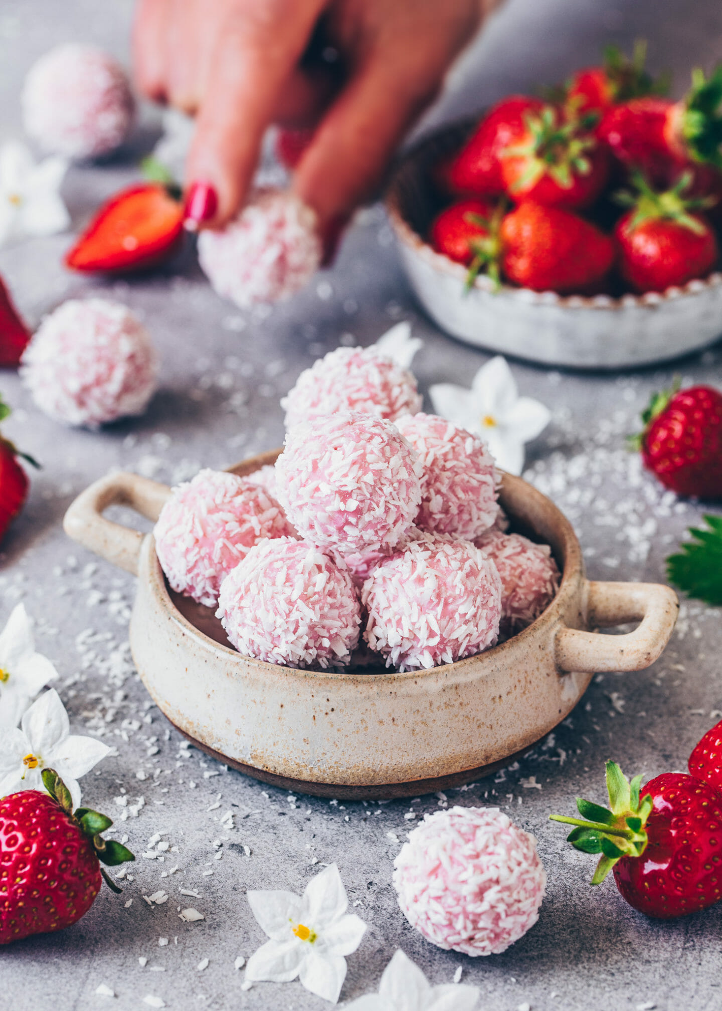 pink strawberry Raffaello pralines (vegan coconut balls)