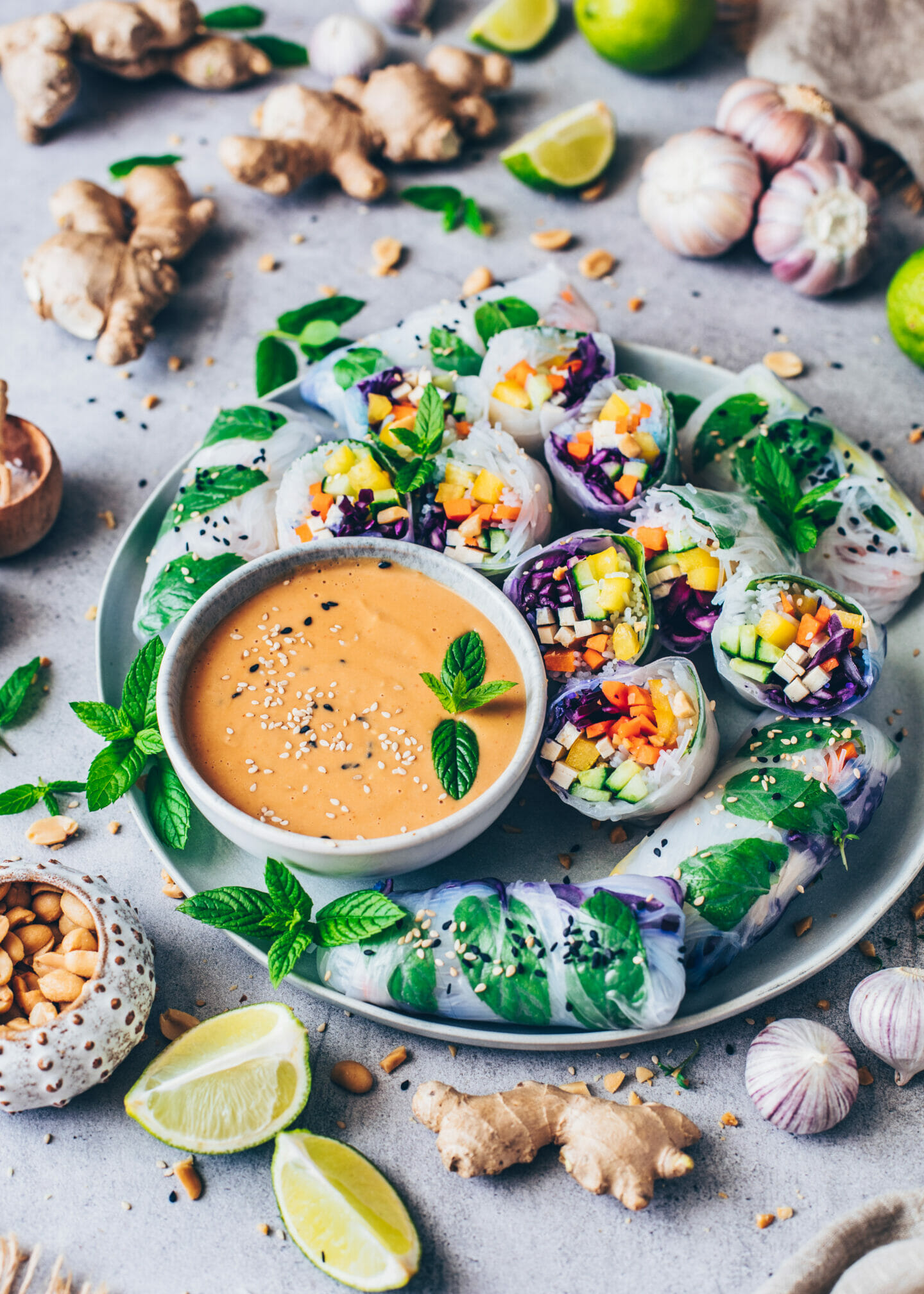 Vietnamese Summer Rolls (Rice Paper Wraps) with Peanut Dip