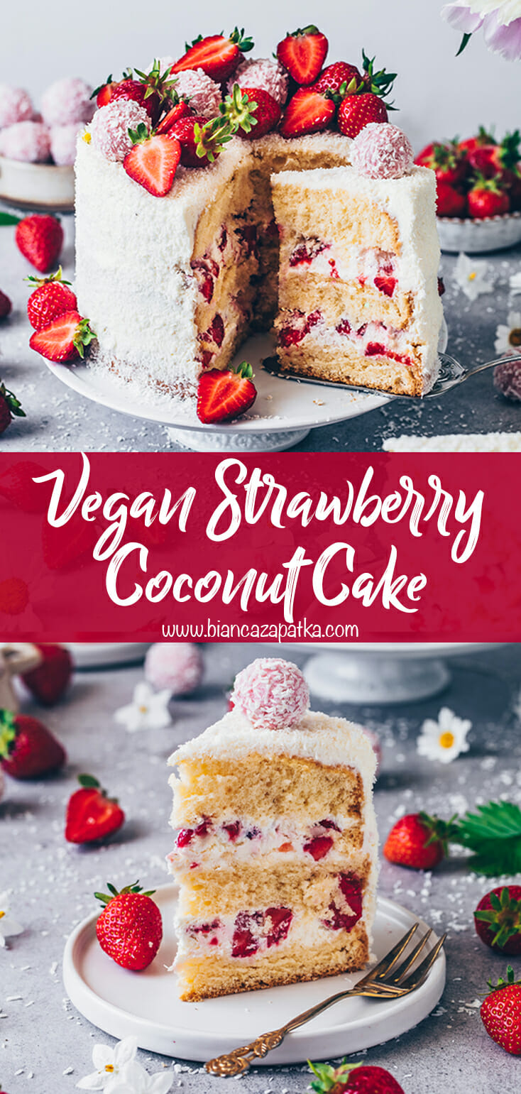 Strawberry coconut cake with vegan Raffaello balls