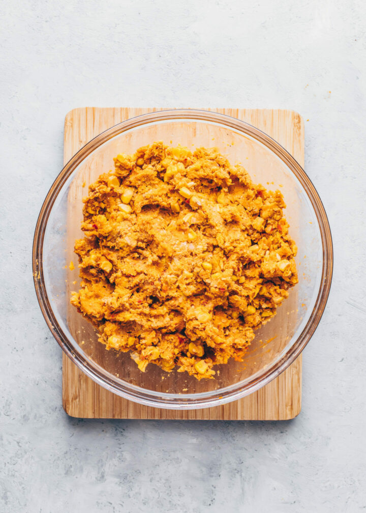 sweet potato and chickpea falafel dough in a bowl