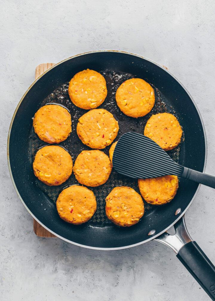 pan-fried sweet potato falafel