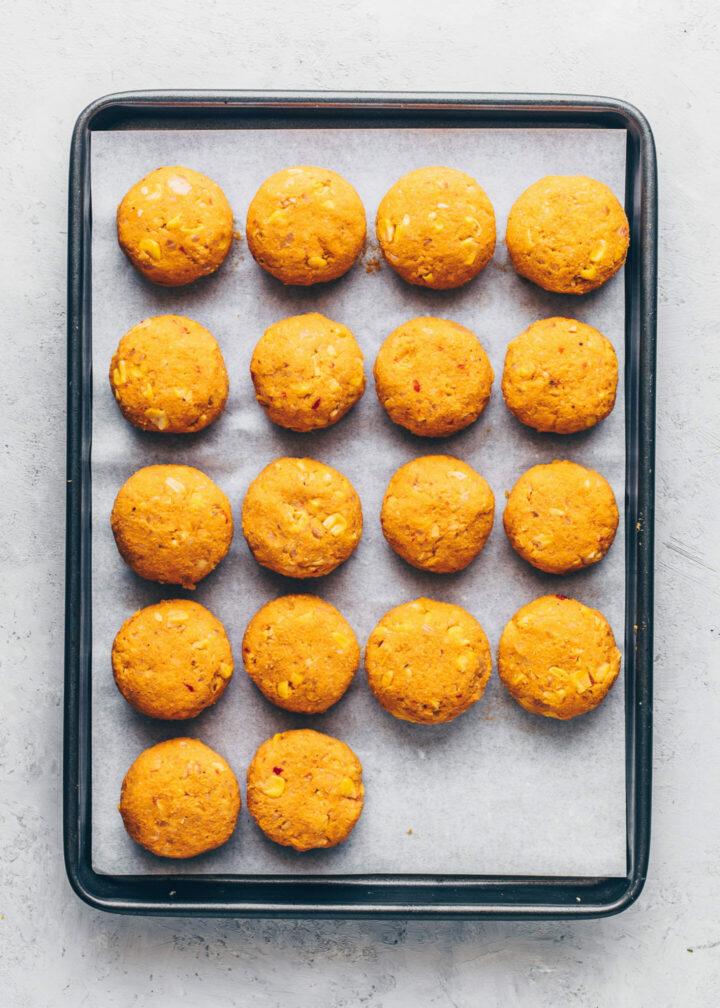 sweet potato and corn falafel