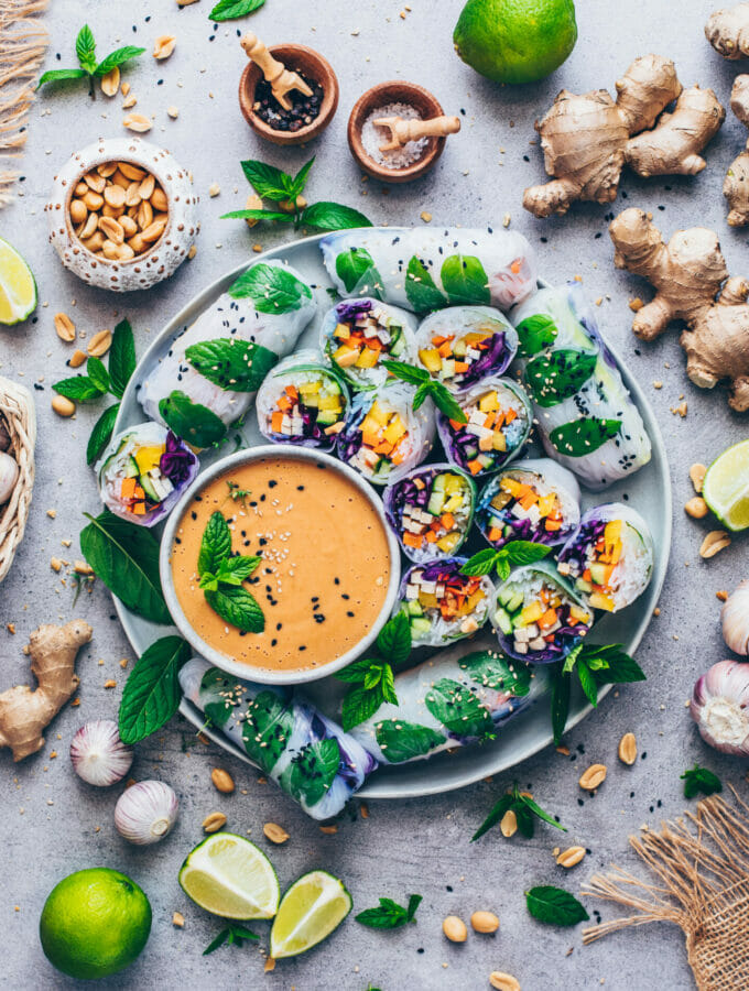 Summer Rolls with Peanut Sauce (Rainbow Veggie Rice Paper Salad Wraps) Food Photography