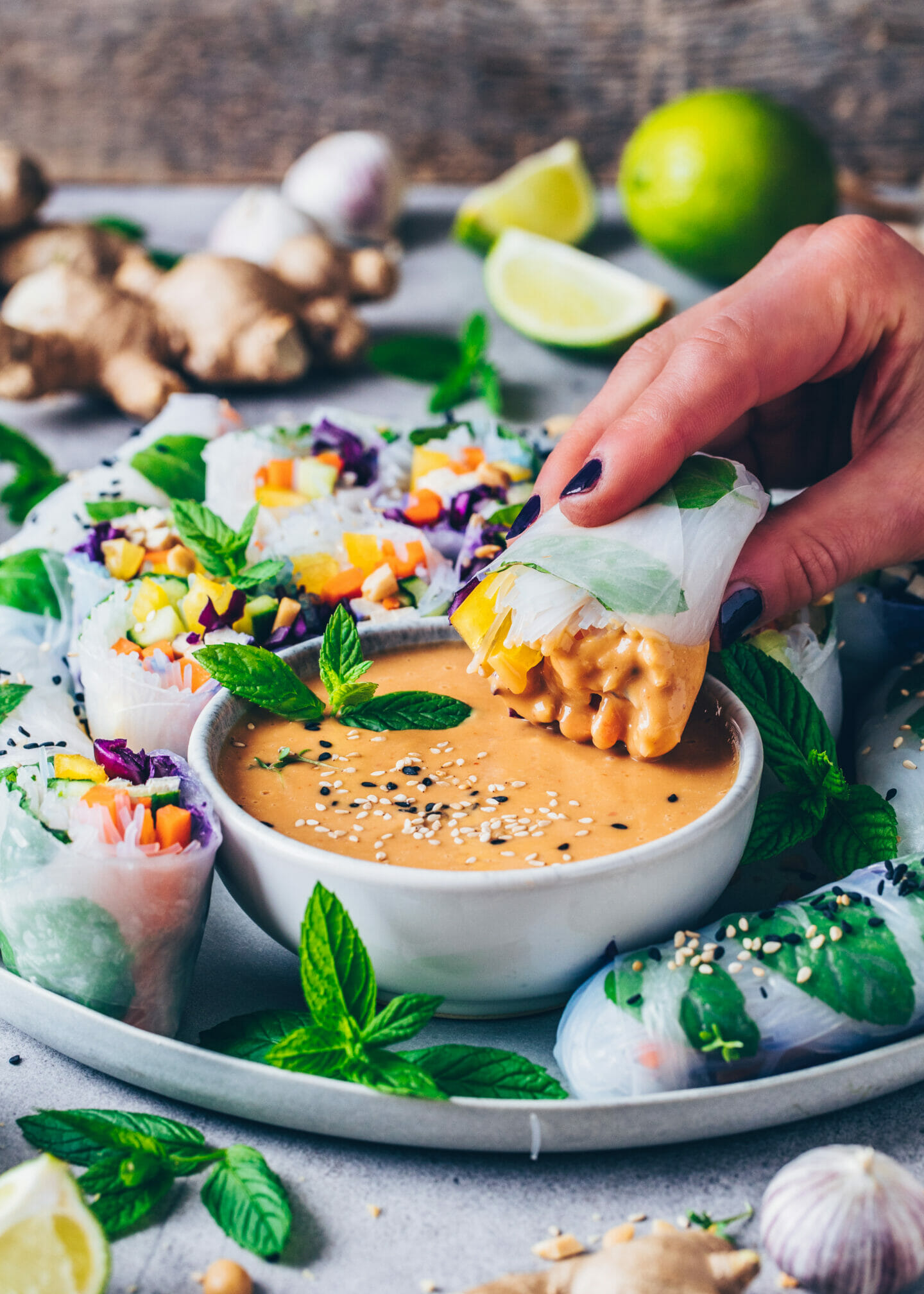 Summer Rolls (Rice Paper Salad Wraps) with Peanut Sauce