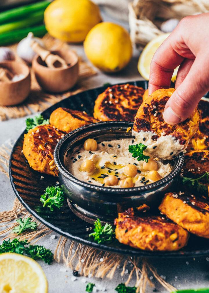 Sweet Potato and Corn Falafel with Hummus