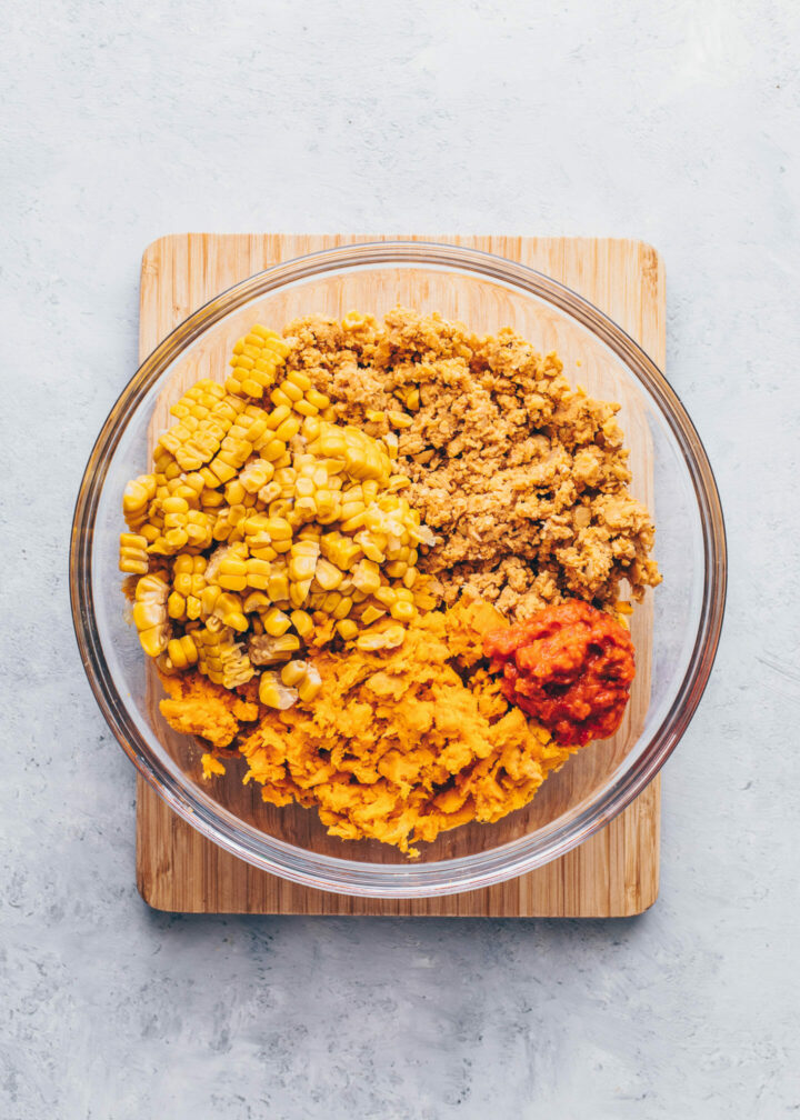 sweet potato, corn, and chickpea falafel dough in a bowl