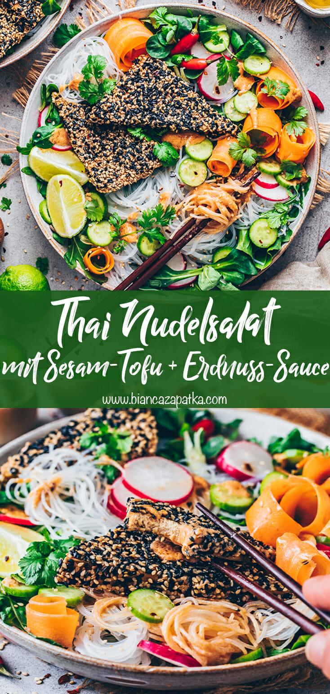 Thai Nudelsalat mit knusprigem Sesam-Tofu und Erdnuss-Sauce