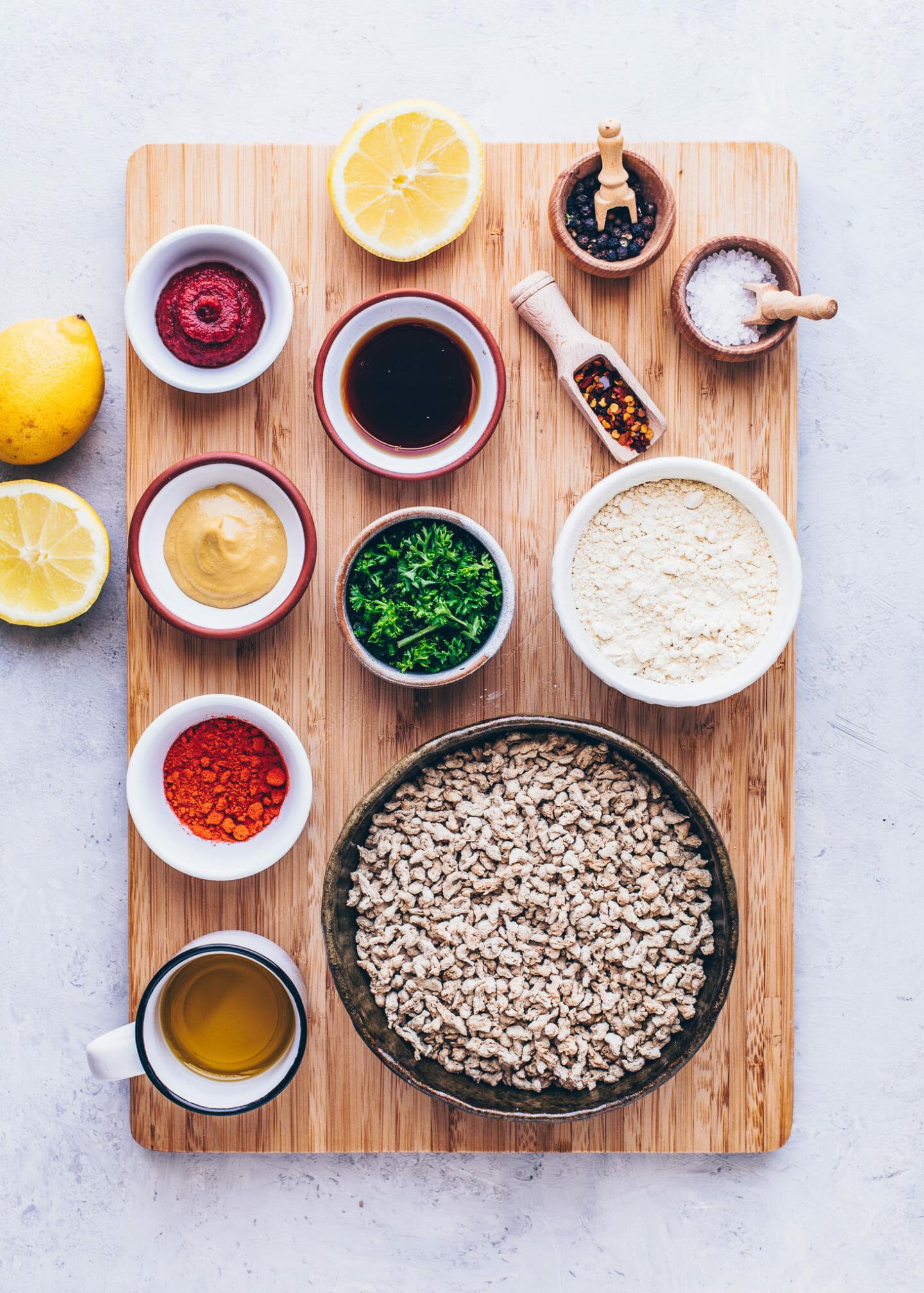 Ingredients for vegan cevapcici
