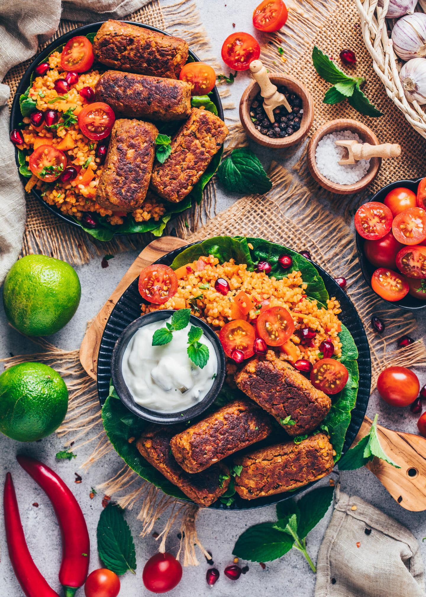 Vegan Cevapcici with Bulgur Salad and Tomatoes