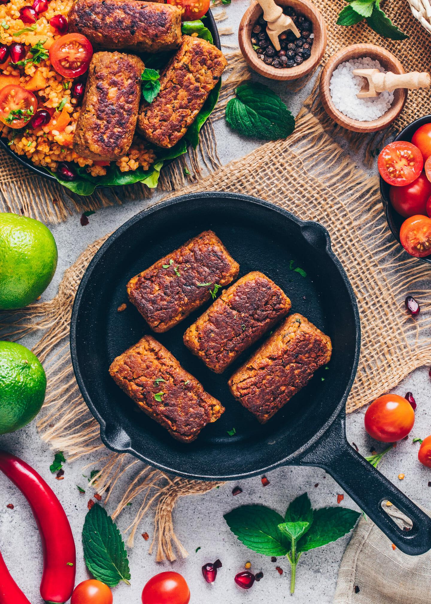 Vegan Meat Rolls (Cevapcici, Sausages)