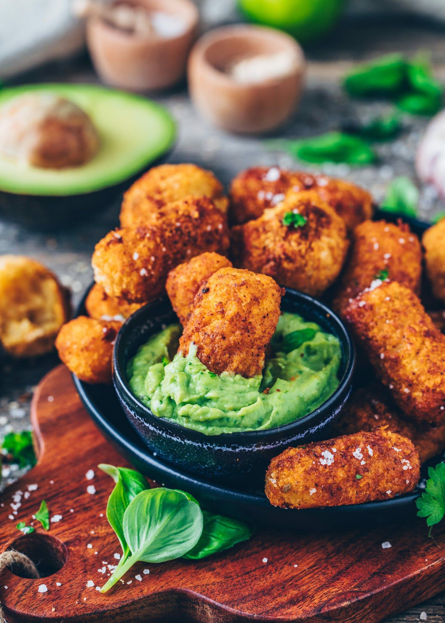 crispy vegan potato croquettes with avocado guacamole