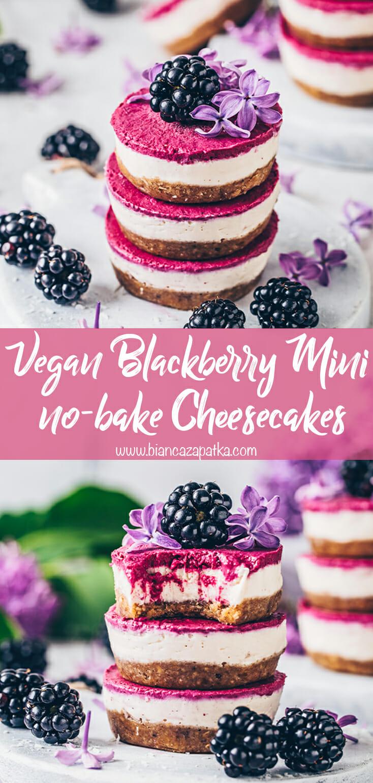 Mini Blackberry Cheesecakes (Raw Vegan, No-Bake)