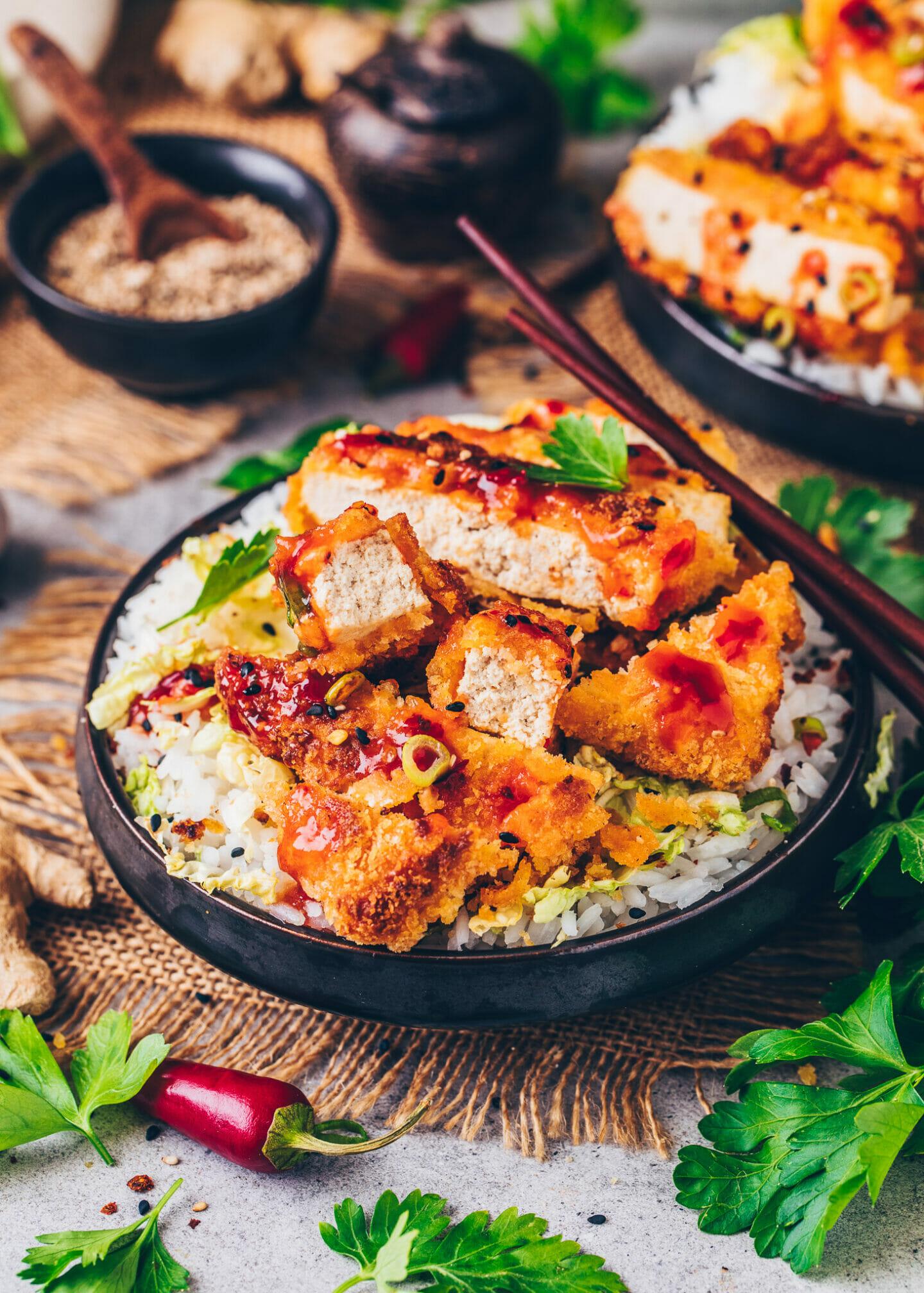 Crispy Crusted Tofu Katsu Bowls