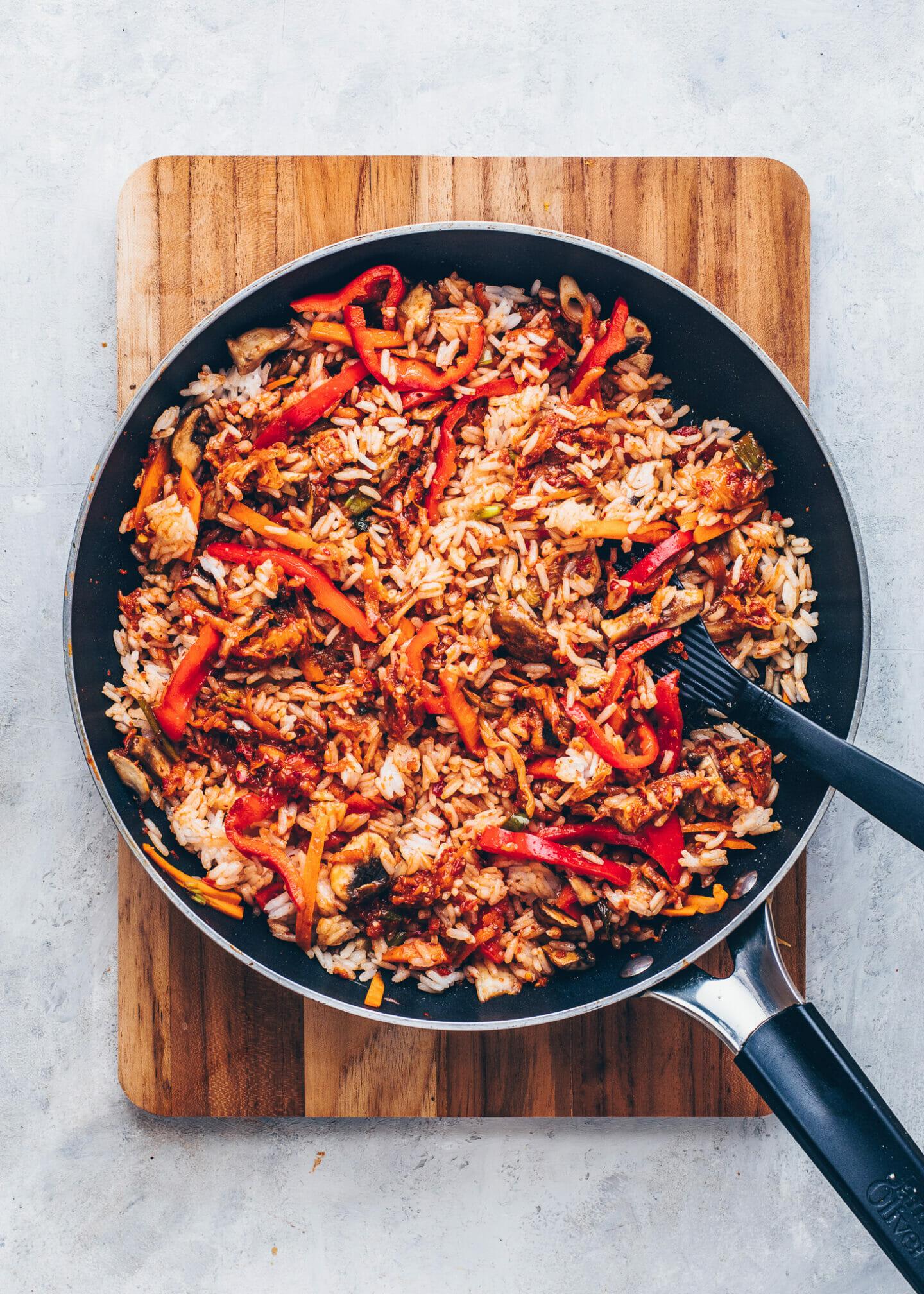 Gebratener Kimchi Reis, Reispfanne