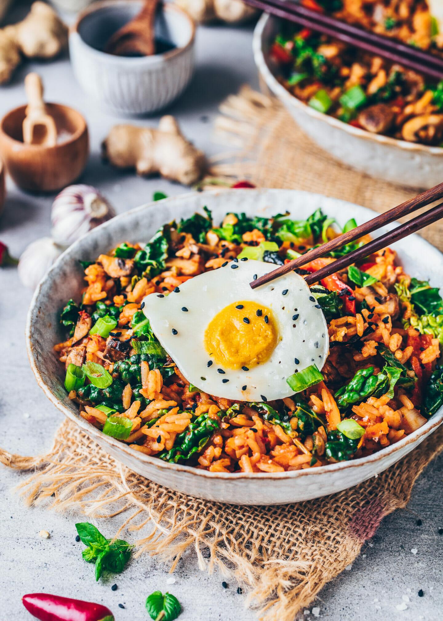 Vegan kimchi fried rice with egg-less egg