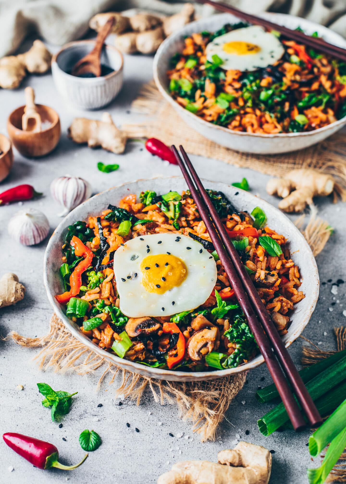 Kimchi fried rice with vegan egg