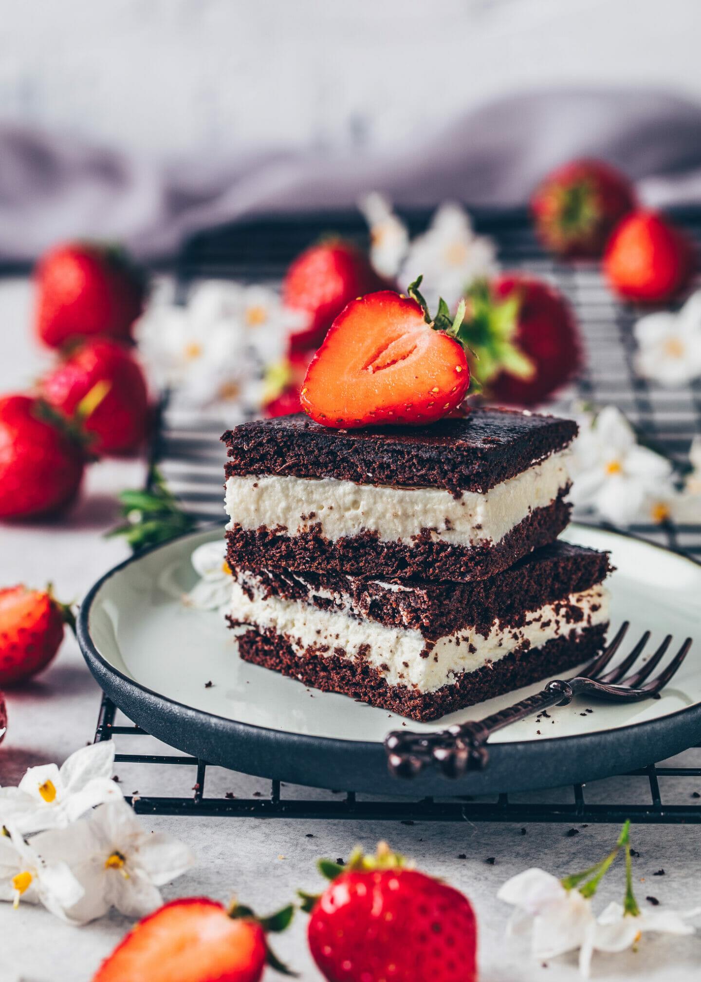 vegan chocolate cake cream bars