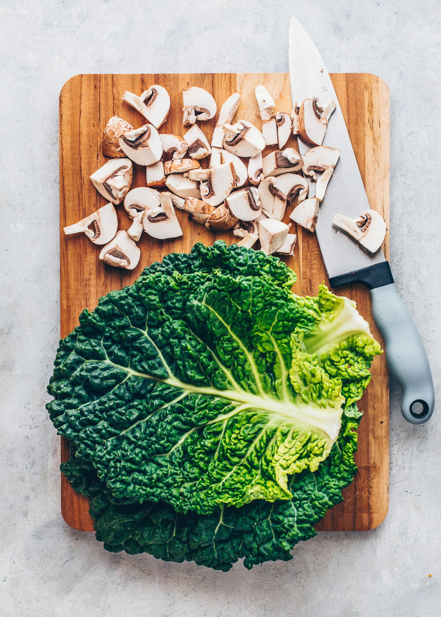 Mushrooms and Kale