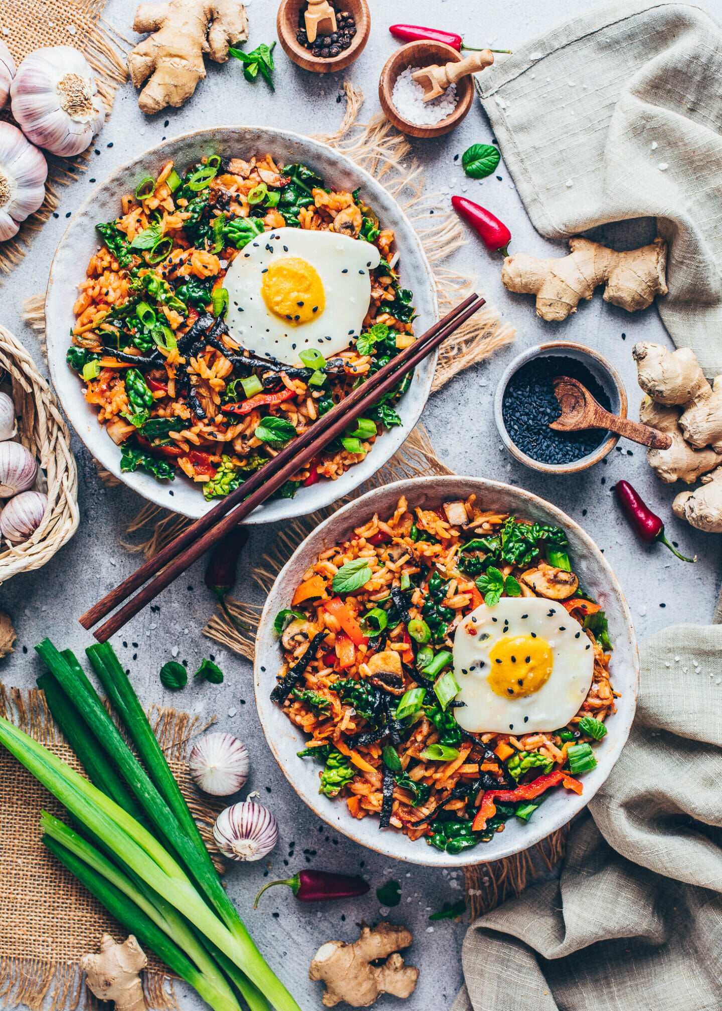 Kimchi Fried Rice with Vegan Fried Eggs