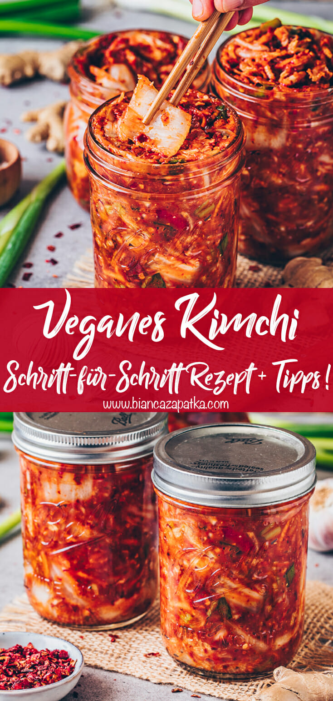 Veganes Kimchi (Schritt-für-Schritt Rezept + Anleitung zum Fermentieren)