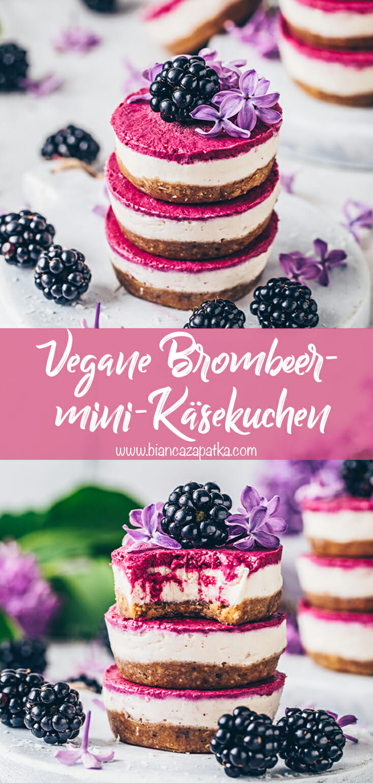 Mini-Käsekuchen, Brombeer-Käsekuchen, Cheesecake Cupcakes (Vegan)