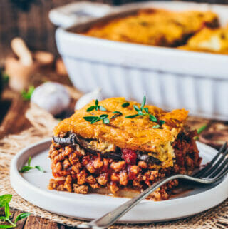 Greek Moussaka casserole with vegan meat tomato sauce and cashew béchamel