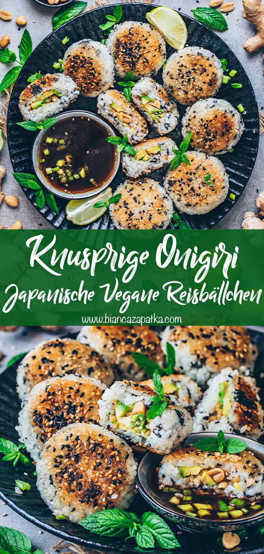 Onigiri - Knusprige Japanische gefüllte Sushi Reisbällchen mit Avocado, Erdnüssen, Sesam und Thai Dip-Sauce