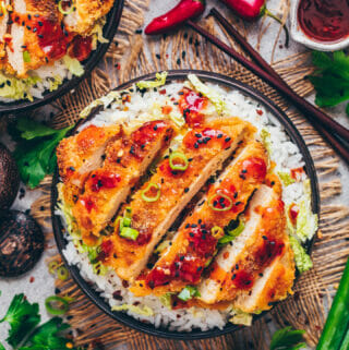Tofu Katsu Rice Bowls with Sweet Sour Chili Sauce