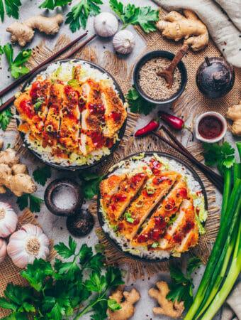 Tofu Schnitzel (Japanisches Veganes Katsu) Food Fotografie