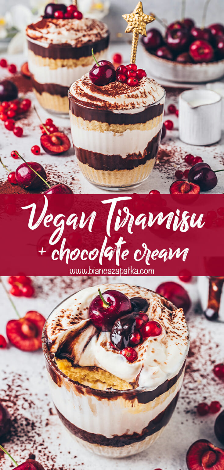 Vegan Tiramisu with chocolate cream and cherries