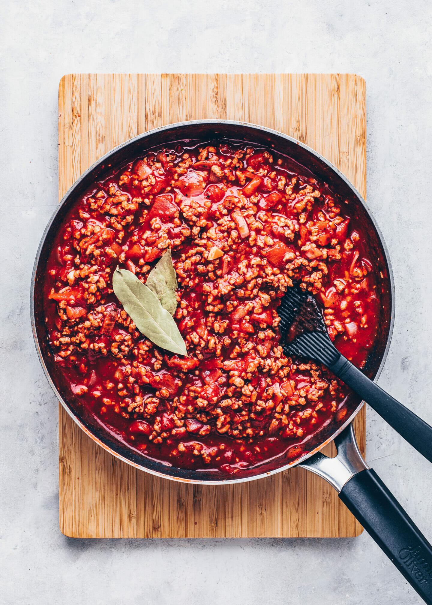 Vegan Tomato Meat Sauce for Moussaka and Lasagna