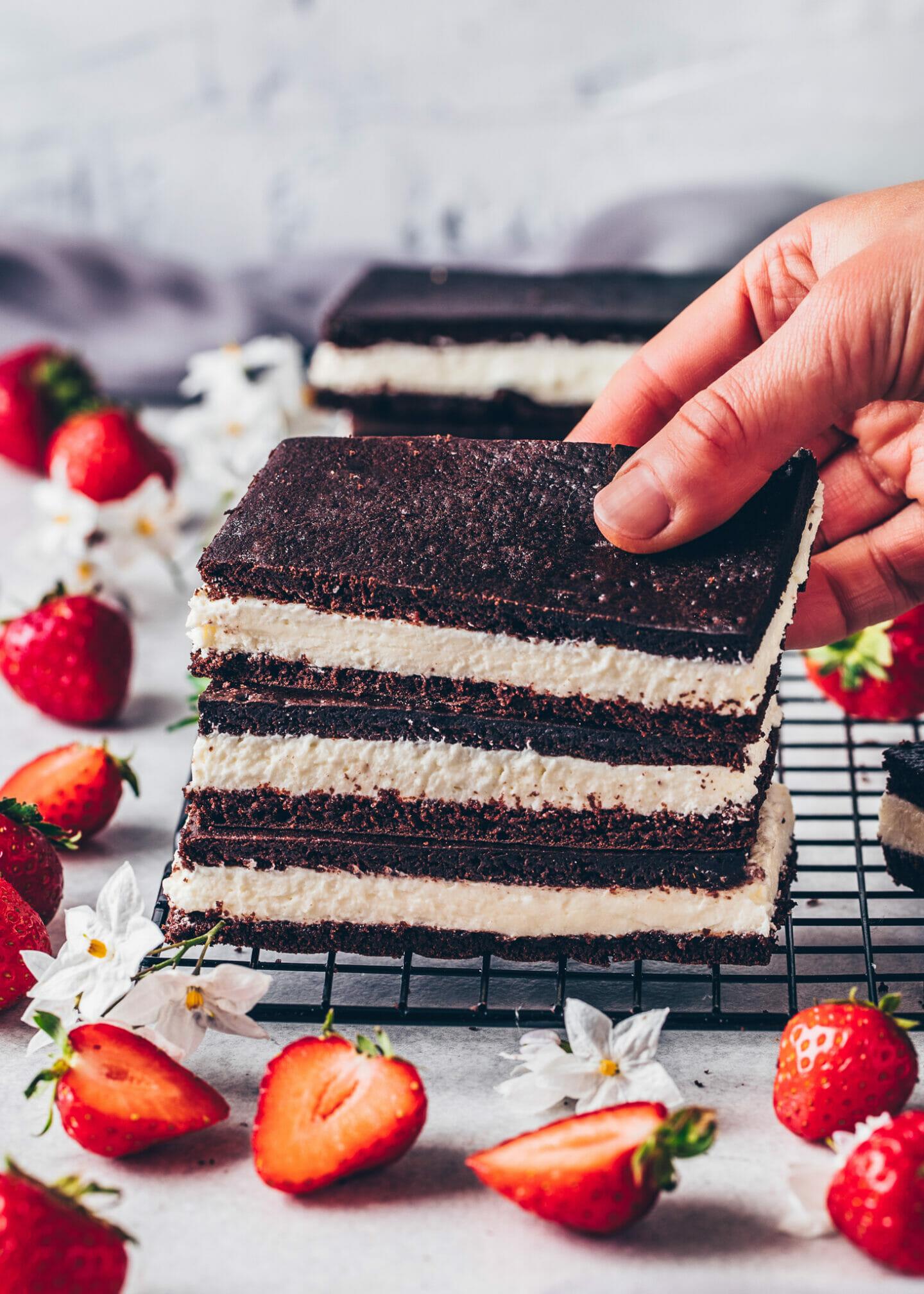 Vegan Milk Slices | Chocolate and Cream Bars